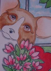 Art: VALENTINE WELSH CORGI DOG 2 by Artist Cyra R. Cancel