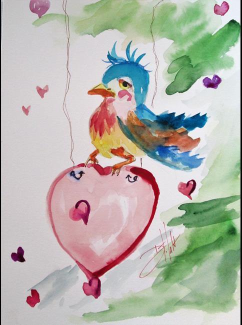 Art: Bluebird and Heart by Artist Delilah Smith