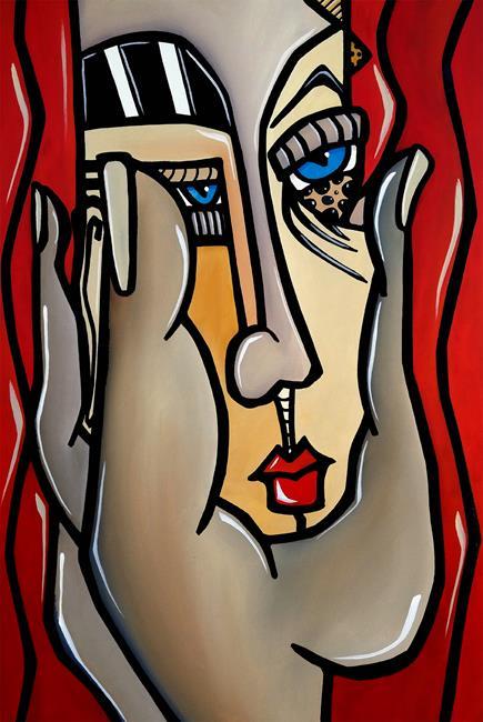 Art: Abstract Art Original Painting Paranoid by Artist Thomas C. Fedro