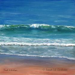 Art: Burleigh Beach by Artist Janet M Graham