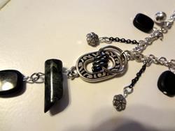 Art: Silver Black Necklace by Artist Vicky Helms