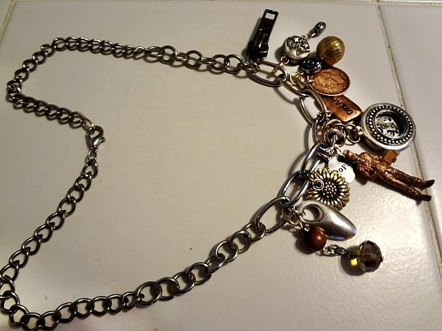 Art: Copper Man Necklace by Artist Vicky Helms