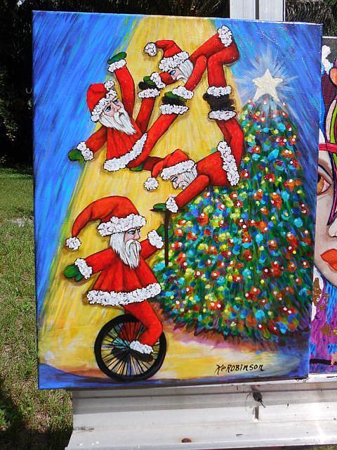 Art: SunDown Tumbling Santas by Artist Ke Robinson