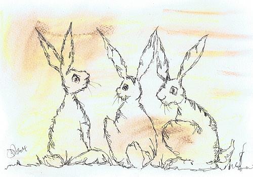 Art: THREE HARES h2553 by Artist Dawn Barker