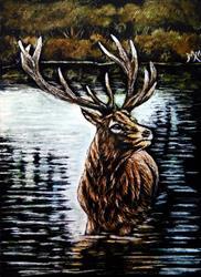 Art: Elk Lake - SA101 by Artist Monique Morin Matson
