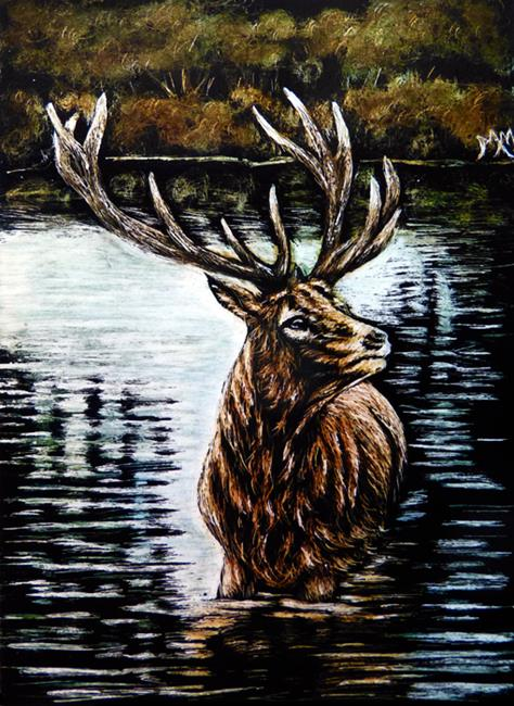 Art: Elk Lake - SA101  (SOLD) by Artist Monique Morin Matson
