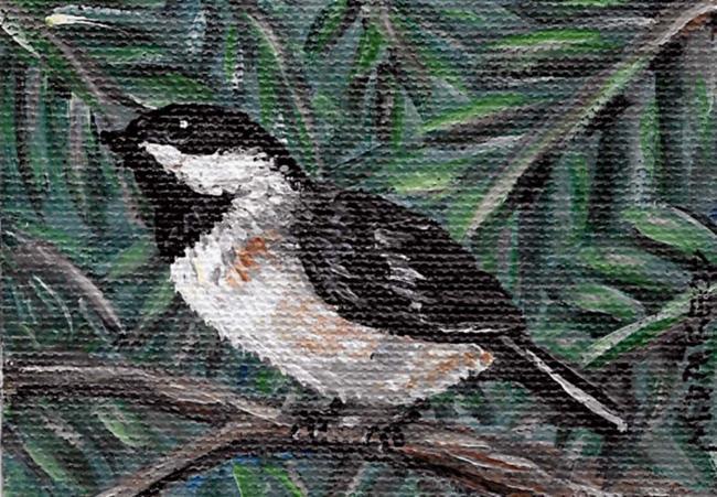 Art: Chickadee in Greens by Artist Melinda Dalke
