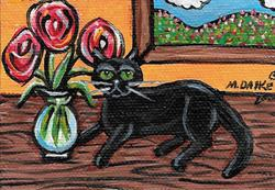 Art: Black Cat & Vase by Artist Melinda Dalke