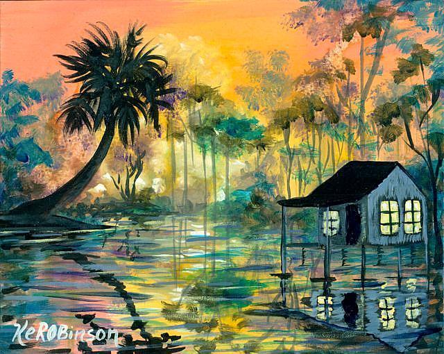 Art: Florida Swamp House by Artist Ke Robinson