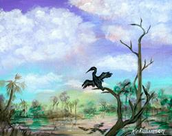 Art: Anhinga Waterway by Artist Ke Robinson