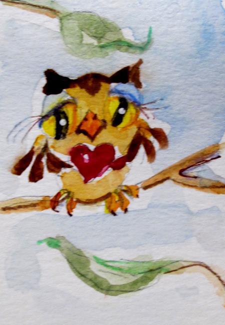 Art: Valentine Owl by Artist Delilah Smith
