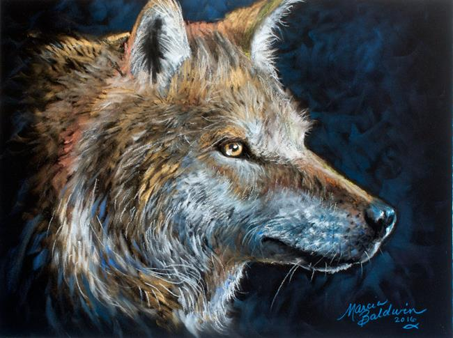 Art: WOLF in PASTEL by Artist Marcia Baldwin