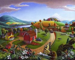 Art: Blackberry Patch Rural Landscape by Artist waltcurlee
