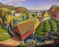 Art: Covered Bridge Appalachian Landscape by Artist waltcurlee