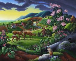 Art: Deer In The High Meadow by Artist waltcurlee