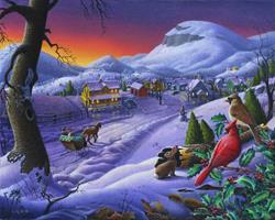 Art: Small Town Winter Landscape by Artist waltcurlee