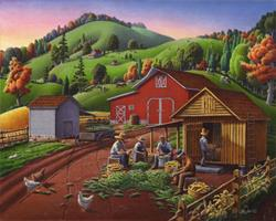 Art: Shucking And Storing Corn In The Corncrib by Artist waltcurlee