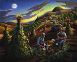 Art: Shucking Corn Til' Sunset by Artist waltcurlee