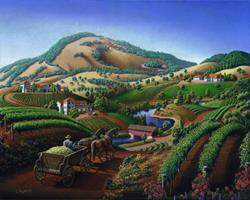 Art: Wine Country Landscape by Artist waltcurlee