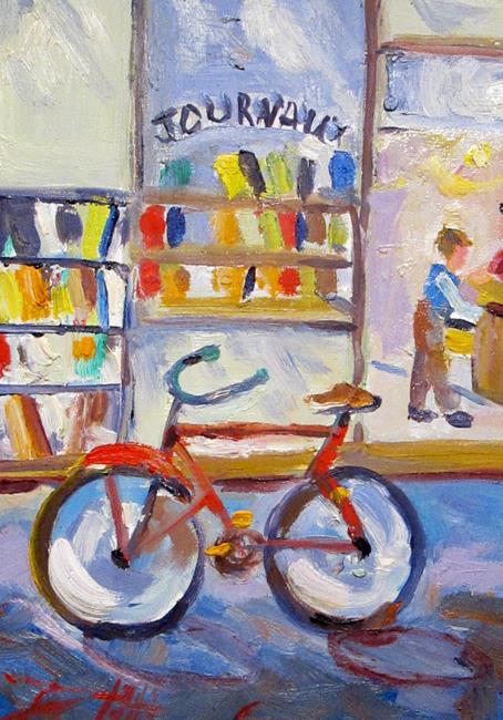 Art: Book Store and Bike by Artist Delilah Smith