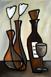 Art: Original Abstract Wine Art Elegent by Artist Thomas C. Fedro