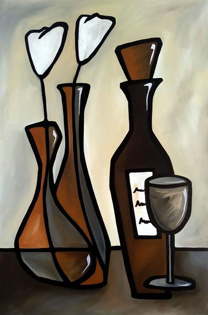 Art: Original Abstract Wine Art Elegent by Artist Thomas C. Fedro