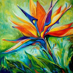 Art: BLESSED DAY Bird of Paradise by Artist Marcia Baldwin
