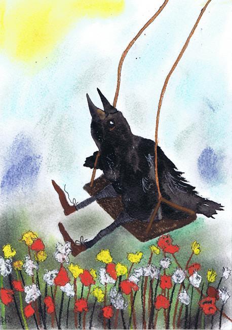 Art: SWINGING BIRD b120 by Artist Dawn Barker