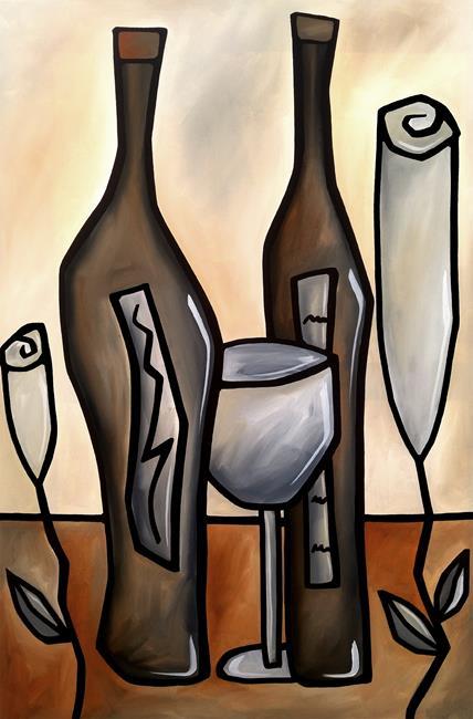 Art: Original Abstract Art Wine Floral Tones by Artist Thomas C. Fedro