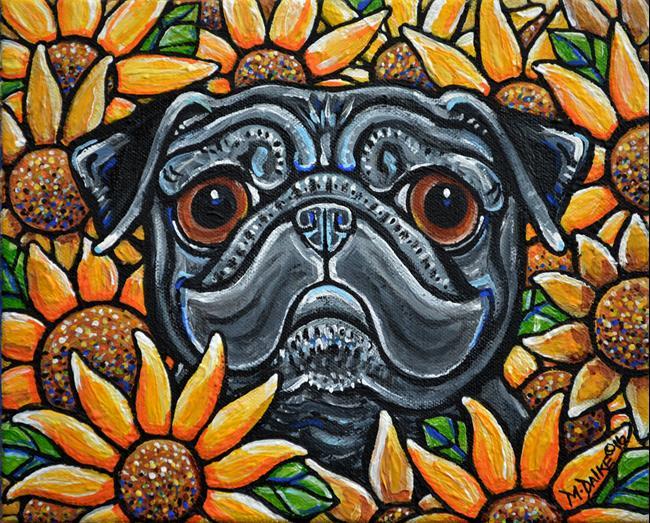 Art: Sunflower Pug 2016 by Artist Melinda Dalke