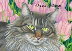 Art: Spring Cat by Artist Lisa M. Nelson
