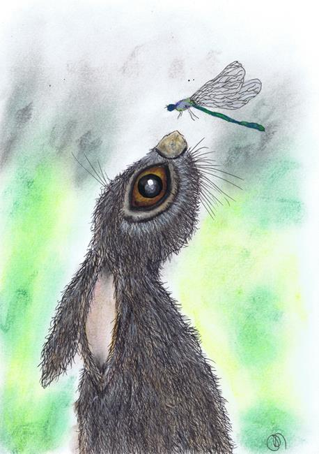Art: HARE AND DRAGONFLY h3203 by Artist Dawn Barker