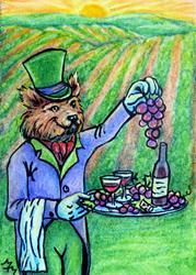 Art: Foxy Vineyard Butler  (SOLD) by Artist Monique Morin Matson