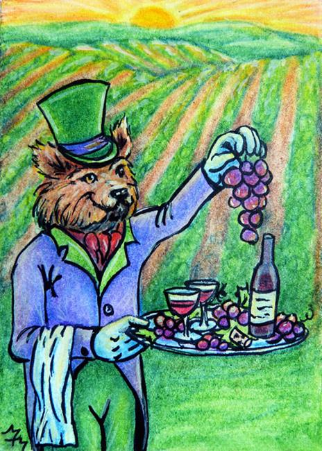 Art: Foxy Vineyard Butler  (SOLD) by Artist Monique Morin Matson