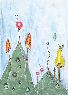 Art: Fruit and Mushroom Mountains-Sold by Artist Sherry Key