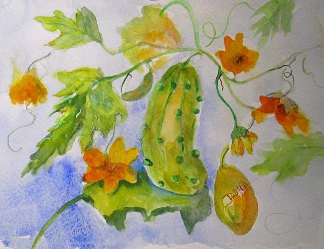 Art: Cucumber on Vine by Artist Delilah Smith