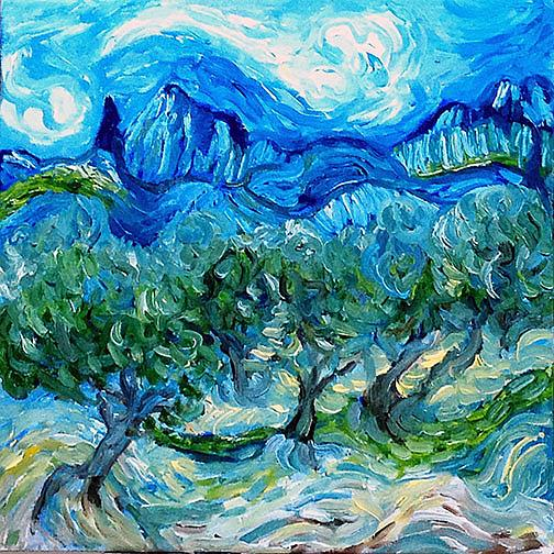 Art: Olive Grove Where Vincent Walked by Artist Alma Lee