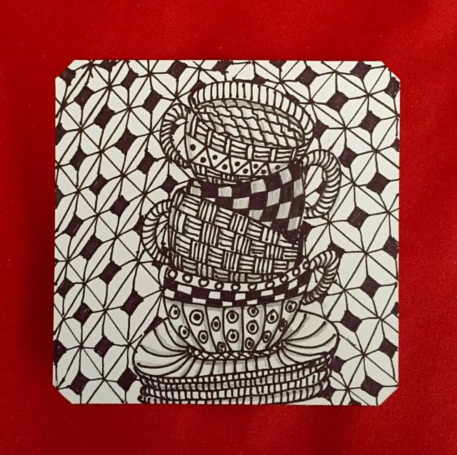 Art: Cups - Zentangle Inspired by Artist Ulrike 'Ricky' Martin