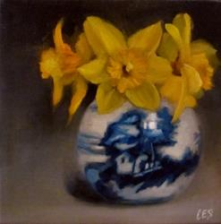 Art: Daffodils and Chinese Porcelain by Artist Christine E. S. Code ~CES~