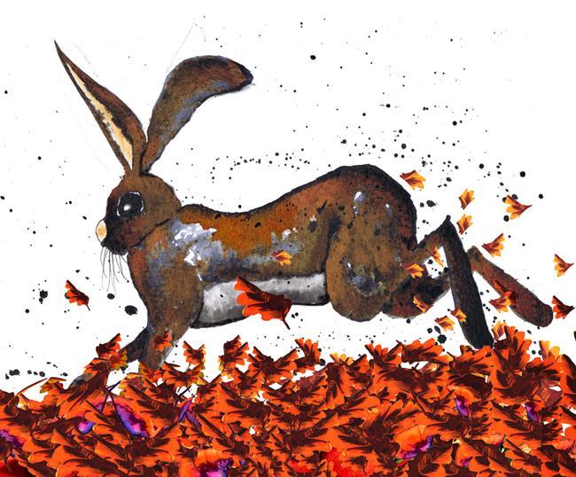 Art: RUNNING HARE h3106lf by Artist Dawn Barker