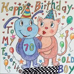 Art: Happy Birthday Greeting by Artist Ulrike 'Ricky' Martin