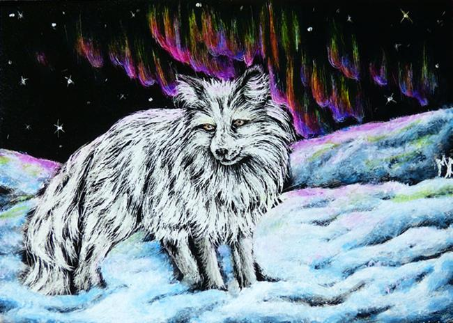Art: Artic Fox Aurora - SA105  (SOLD) by Artist Monique Morin Matson