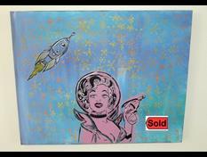 Art: Space Vixen Original Pop Graffiti Painting by Artist Paul Lake, Lucky Studios
