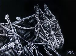 Art: Mule Team - SA108  (SOLD) by Artist Monique Morin Matson