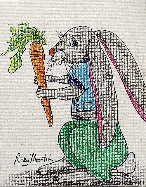 Art: Bunny with Carrot - sold by Artist Ulrike 'Ricky' Martin