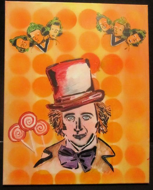 Art: Willy Wonka Graffiti Pop Art Original by Artist Paul Lake, Lucky Studios