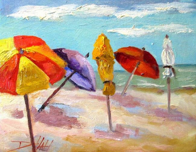 Art: Beach Umbrellas No.3-sold by Artist Delilah Smith