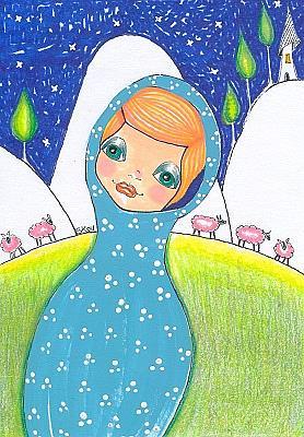 Art: Pink Sheep-Sold by Artist Sherry Key