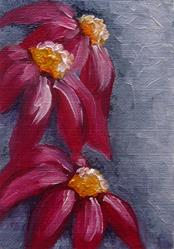 Art: MAGENTA FLOWERS OIL MINI PAINTING by Artist Cyra R. Cancel
