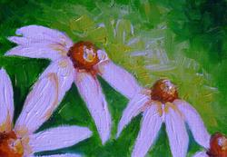 Art: WHITE CONE FLOWERS OIL MINI PAINTING by Artist Cyra R. Cancel